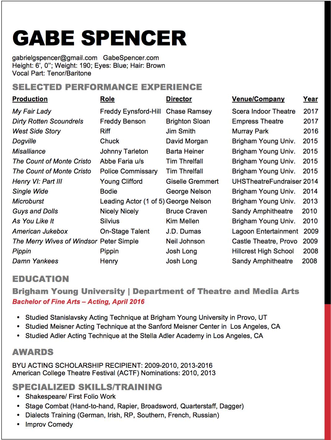 Stage Acting Resume Gabe Spencer